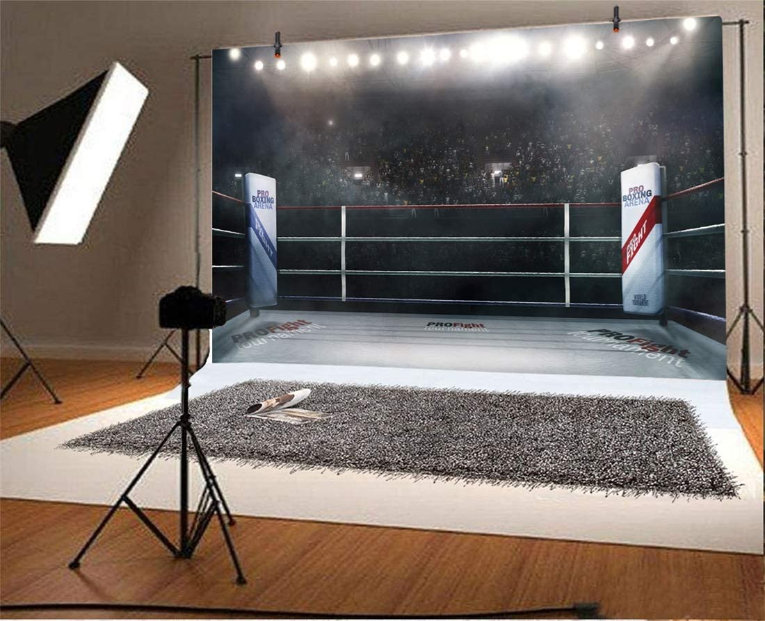Yeele Boxing Stage Backdrops 6x4ft Professional Boxing Arena in Lights Photography Background Boys Men Artistic Portrait Sports Game Birthday Events ...