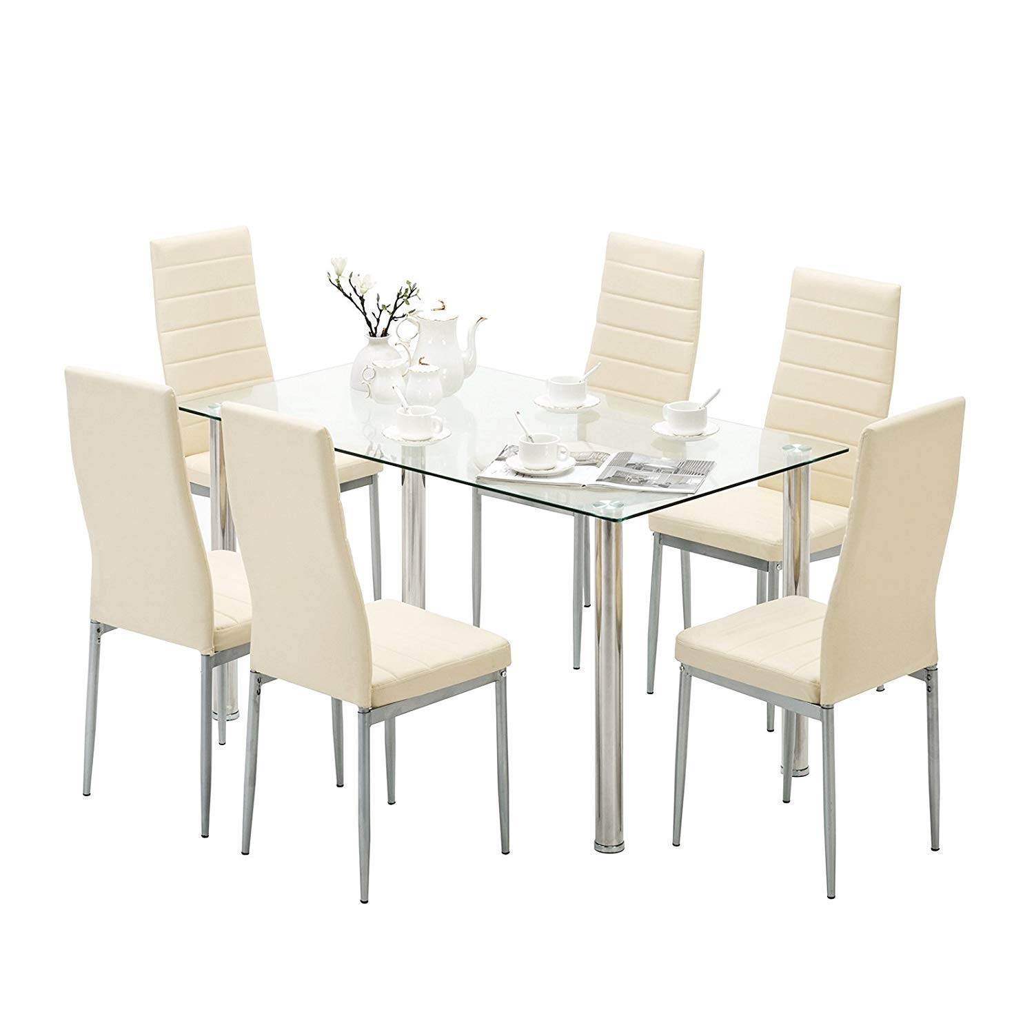 Mecor Dining Chairs Set of 6,Modern Dining Chairs High Back PU Leather with Steel Frame Legs Kitchen Room Chairs Light Yellow
