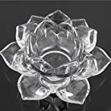 Breewell Crystal Glass Lotus Candle Holders