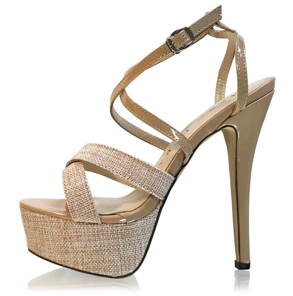 Marc Defang New York Womens Stage Monster Linen and Patent B(M) leather Pumps B077RJ2PYJ 10.5 B(M) Patent US Beige 90b767