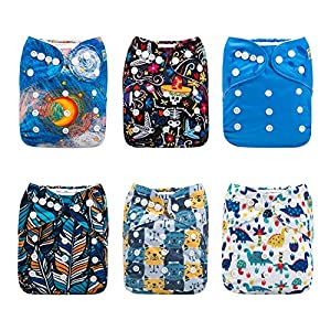 ALVABABY Cloth Diaper, One Size Adjustable Washable Reusable for Baby Girls and Boys 6 Pack with 12 Inserts – – All in…