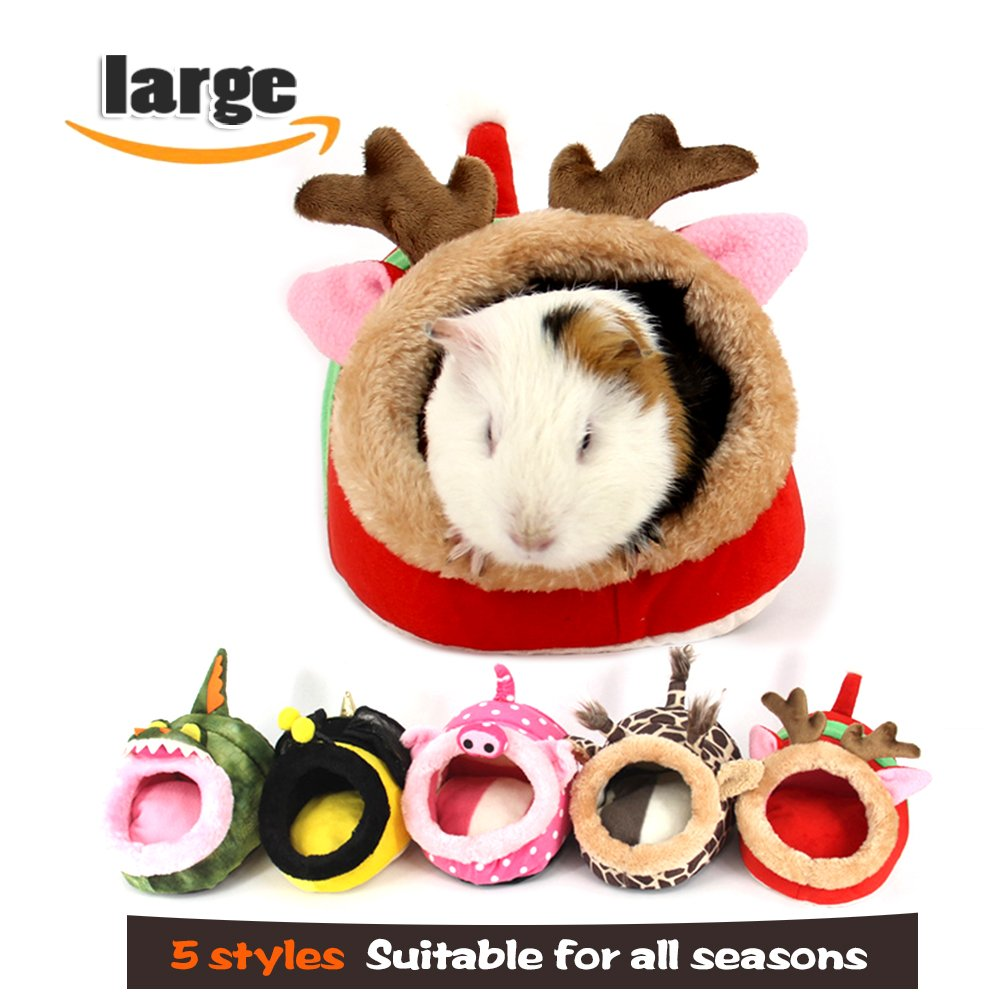 MYIDEA Guinea pigs House,Hedgehog Nest,Rabbits, Chinchillas & Small pet Animals Bed/Cube/House, Habitat, Lightweight, Durable, Portable, Cushion Big Mat For Party Gifts (Small Pet - L, Red elk) by MYIDEA (Image #10)