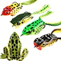 Huishang Fishing Lure Set with Tackle Box Including Plastic Soft Lures Frog Lures,Topwater Frog Lure Set for Bass Snakehead Saltwater Freshwater Fishing (Pack of 5) by Huishang