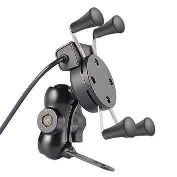 LESHP Soporte Móvil GPS para bicicleta moto Hecho de Aluminio ABS 360°Rotación Toma USB Banda de goma de seguridad para Teléfono de 3.5 a 6 Pulgadas: ...