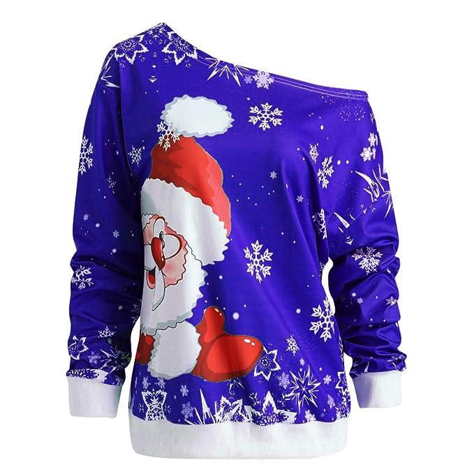 Yvelands Moda Mujer Feliz Navidad Papá Noel Estampado Cuello Oblicuo Sudadera Blusa Tops: Amazon.es: Ropa y accesorios