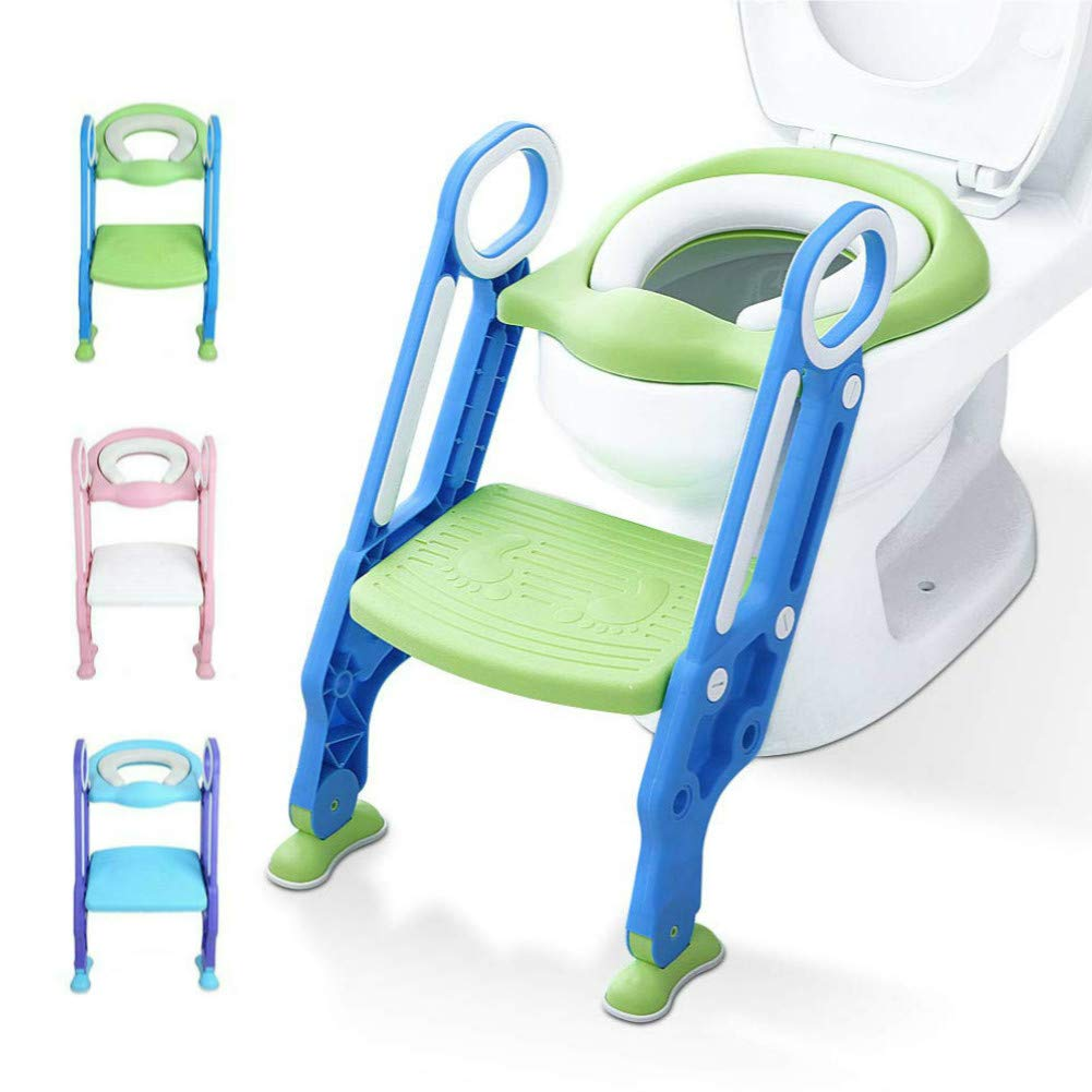 Potty Training Toilet Seat with Step Stool Ladder for Kids Children Baby Toddler Toilet Training Seat Chair with Soft Cushion Sturdy and Non-Slip Wide Steps for Girls and Boys (Blue Green)