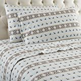 Shavel Home Products Micro Flannel Sheet Set, Twin, Reindeer Stripe