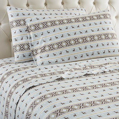 Shavel Home Products Micro Flannel Sheet Set, Twin, Reindeer Stripe by Shavel Home Products