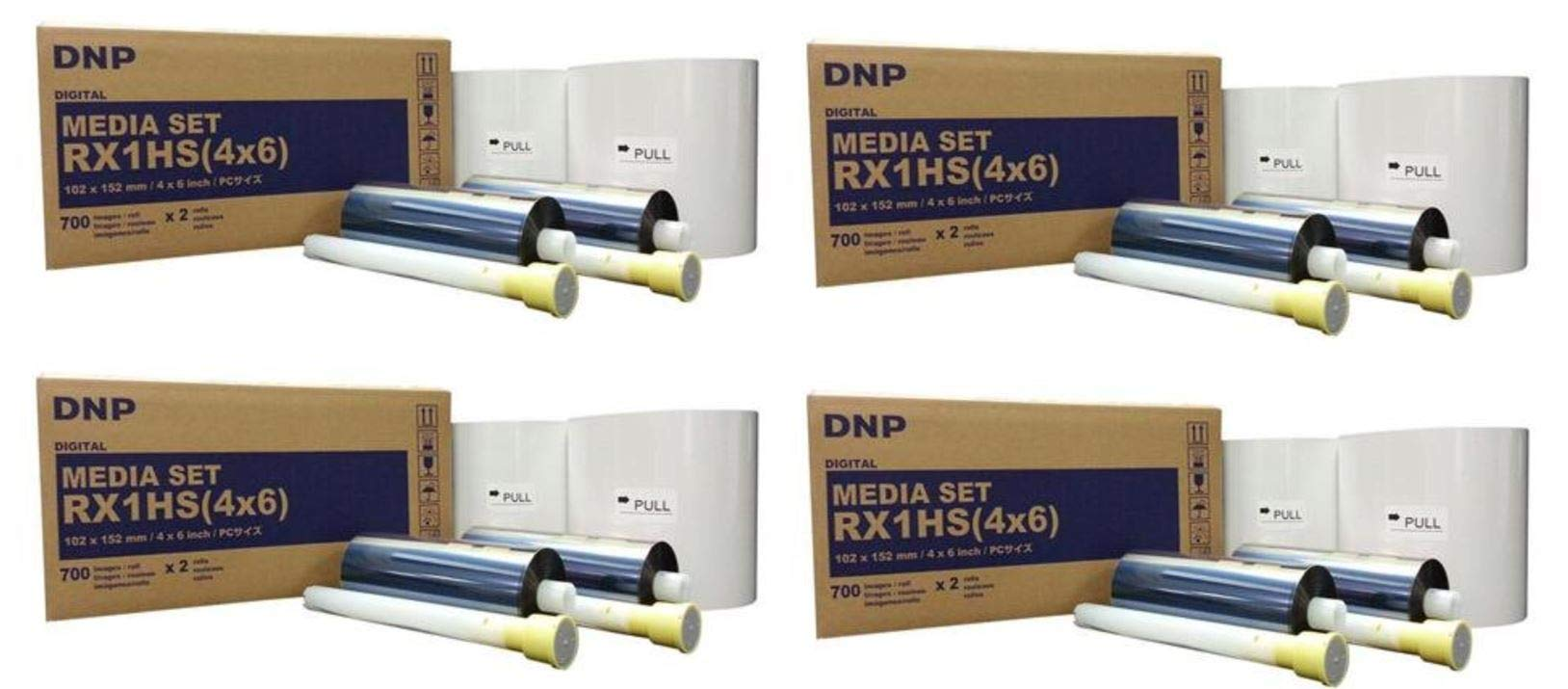 4 Cases of RX1HS 4x6 Printer Media - 1400 Prints Each - Total 5600 Prints Shipped from KOBIS - A DNP Authorized reseller