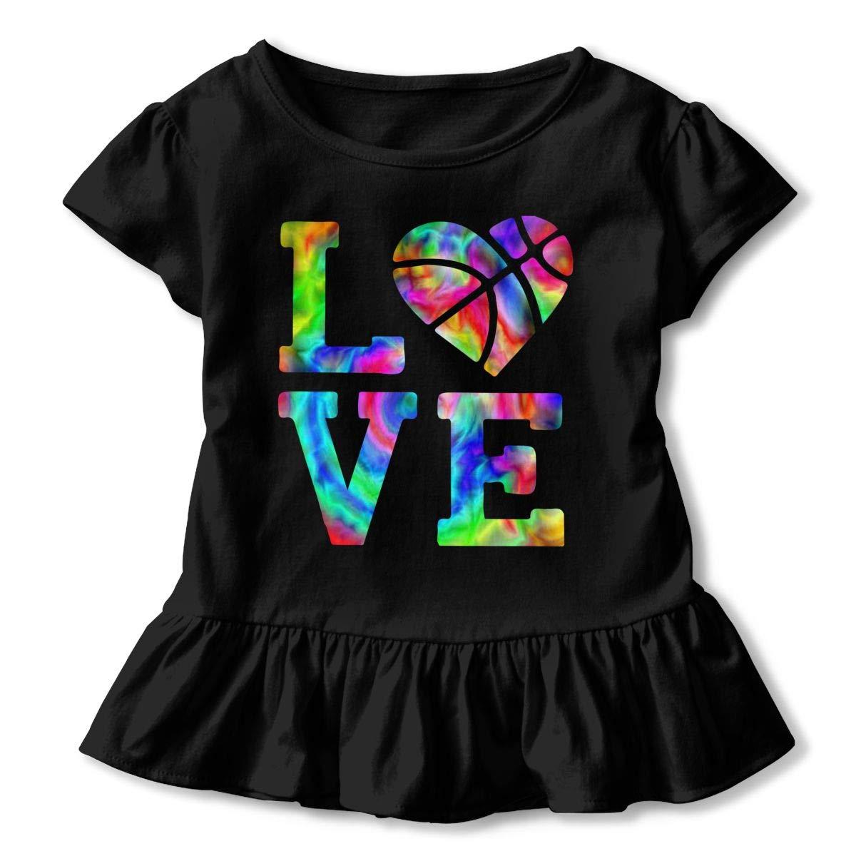 CZnuen Tie Dye Basketball Love 2-6T Baby Girls Cotton Jersey Short Sleeve Ruffle Tee