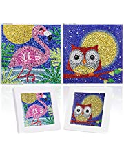 2 Pack DIY 5D Diamond Painting by Number Kit for Children,MWOOT Full Drill Diamond Dots Cross Stitch Beginners Art Crafts Kits,Kids Gift for Home Wall Decor 12x12CM (Flamingo + Owl)