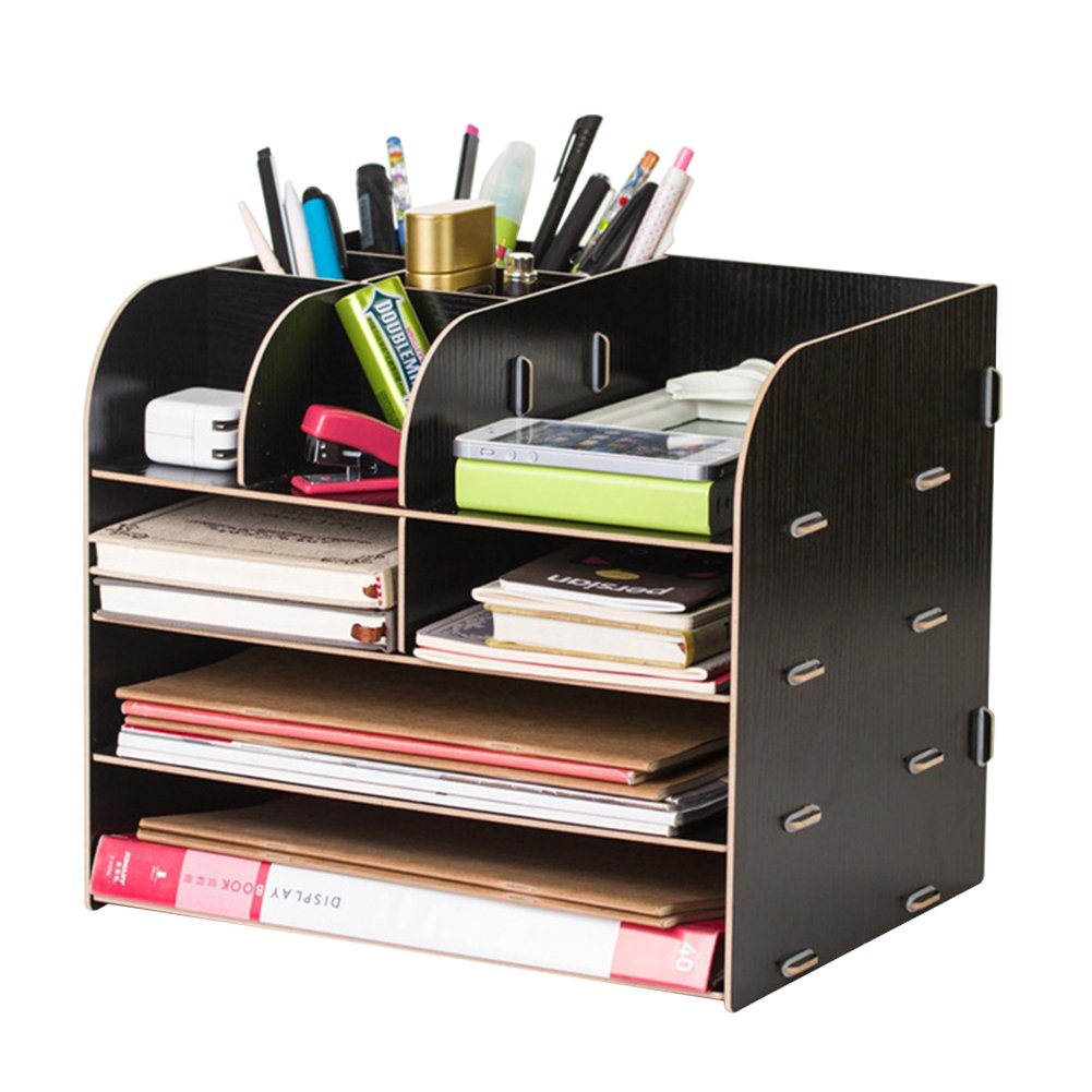 Porta ufficio multi-funzionale scrivania, in legno, cancelleria per scrivania, tavolo Business della penna del telefono mobile di telecomando Holder Storage for home office Supplies Nero ITODA