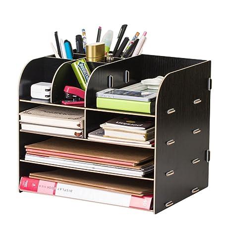 Caja de almacenamiento grande para cajones de escritorio, marco de madera, organizador de escritorio