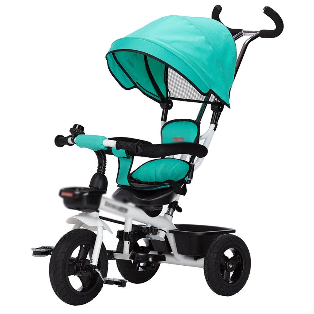 LVZAIXI ベビートロリー三輪車ベビーキャリッジバイク子供おもちゃ車Foldableバイラテラルステアリング3チタン車輪保護自転車、(男の子/女の子、6ヶ月-5歳)バイク ( 色 : 緑 ) B07CG4V1SP 緑 緑