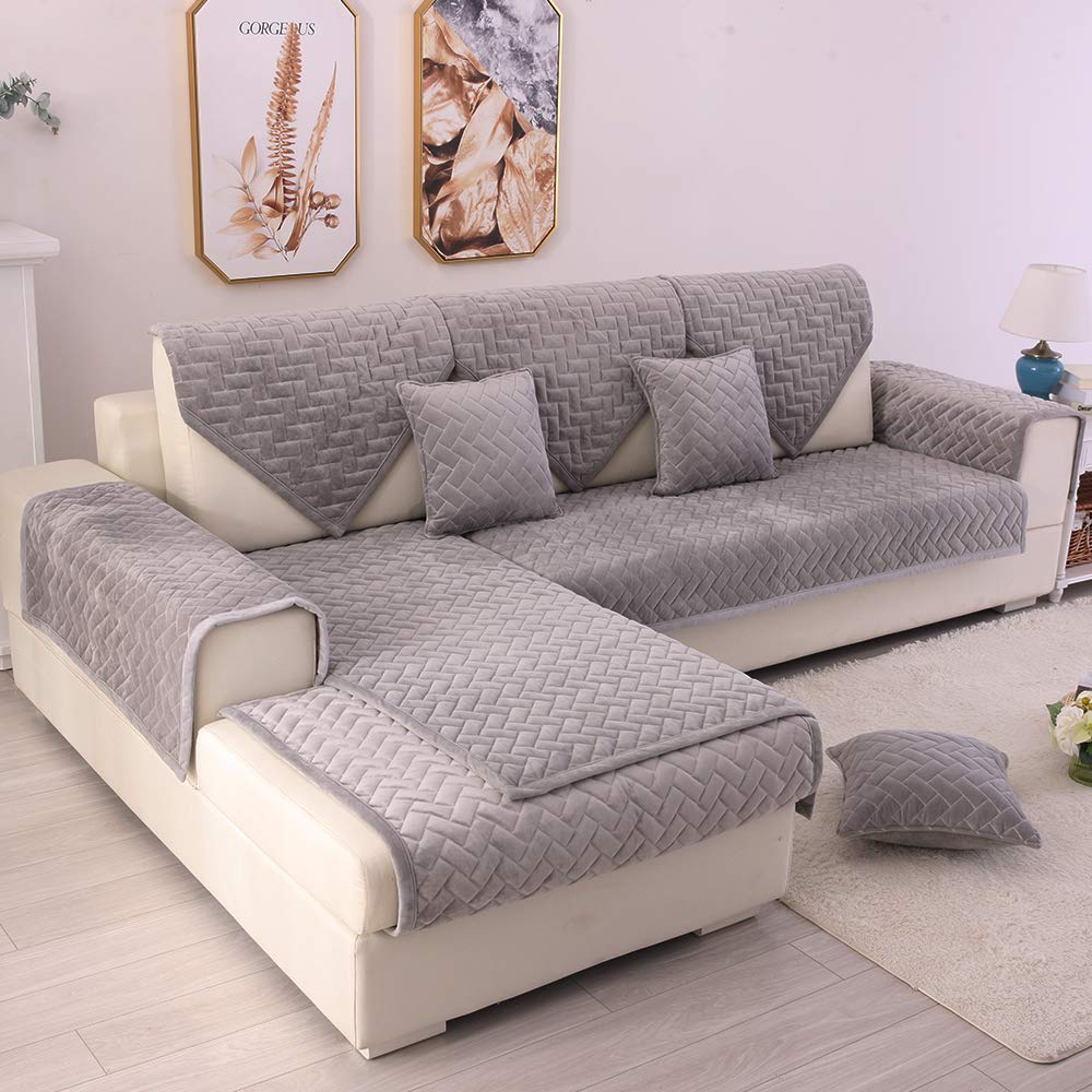TEWENE Couch Cover, Sofa Cover Couch Covers Sectional Couch Covers Anti-Slip Sofa Slipcover for Dogs Cats Pet Love Seat Recliner Cushion Cover Grey (Sold by Piece/Not All Set)