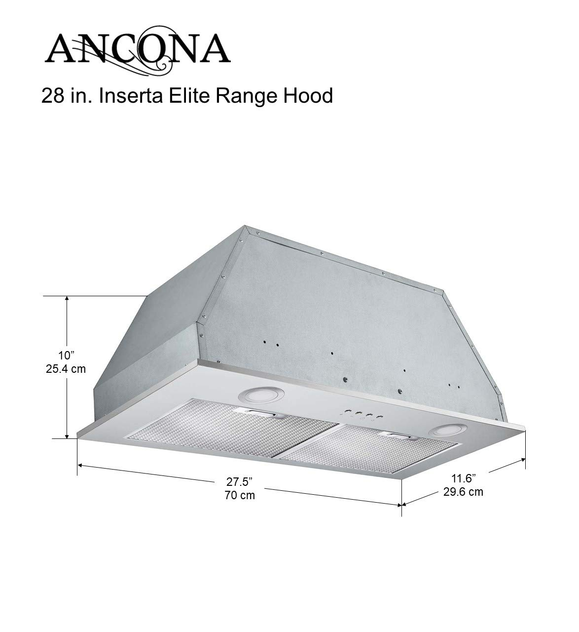 Ancona AN-1307 28 in Inserta Elite 630 CFM Ducted Insert Range Hood