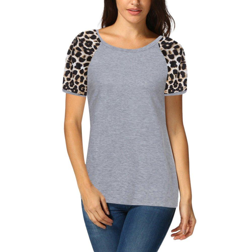 22531450eca8 Oasisocean Women's Sexy Raglan Short Sleeve Leopard Print Patchwork T-Shirt  Blouse Tops