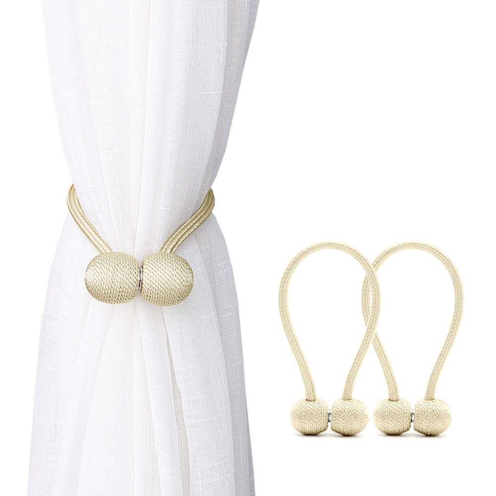 DEZENE Magnetic Curtain Tiebacks,The Most Convenient Drape Tie Backs,2 Pack Decorative Rope Holdback Holder for Small, Thin or Sheer Window Drapries,12 Inch Long,Beige