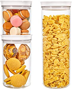Slideep Round Airtight Food Storage Containers with Lids, BPA Free Plastic Clear Kitchen Pantry Organization Containers, Great for Flour, Sugar, Cereal 3PCS Different Size Set
