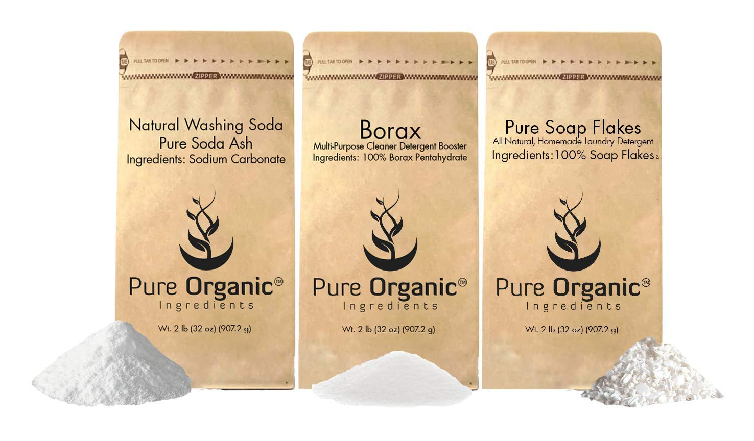 Laundry Soap Kit by Pure Organic Ingredients (2 lbs each) Borax, Natural Washing Soda, Soap Flakes. Eco-Friendly Packaging, Multi-Purpose Cleaners ...