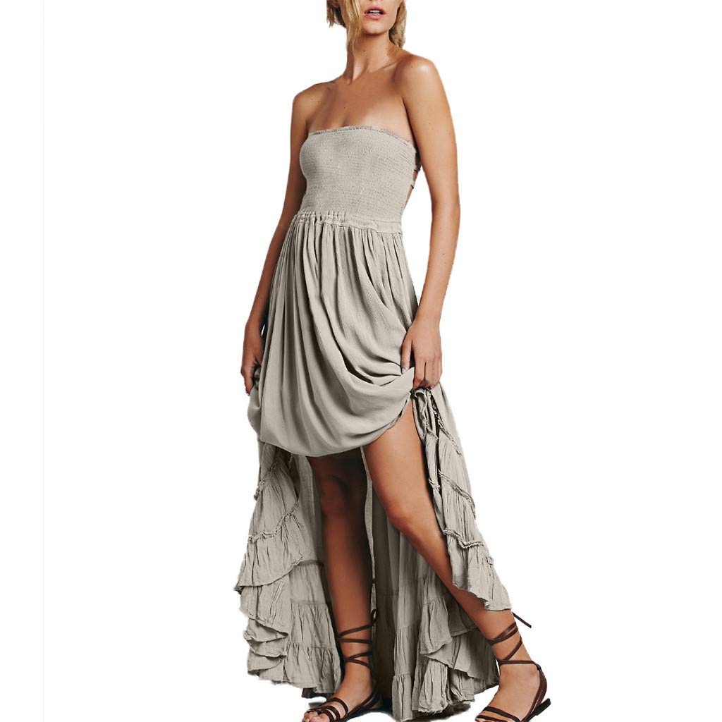 Women Tube Swing Dress - Ladies Sexy Backless Halter Neck Sleeveless Ruffle Flared Maxi Dresses - Summer Solid Color Beach Vacation Travel Clothes (M, Gray)