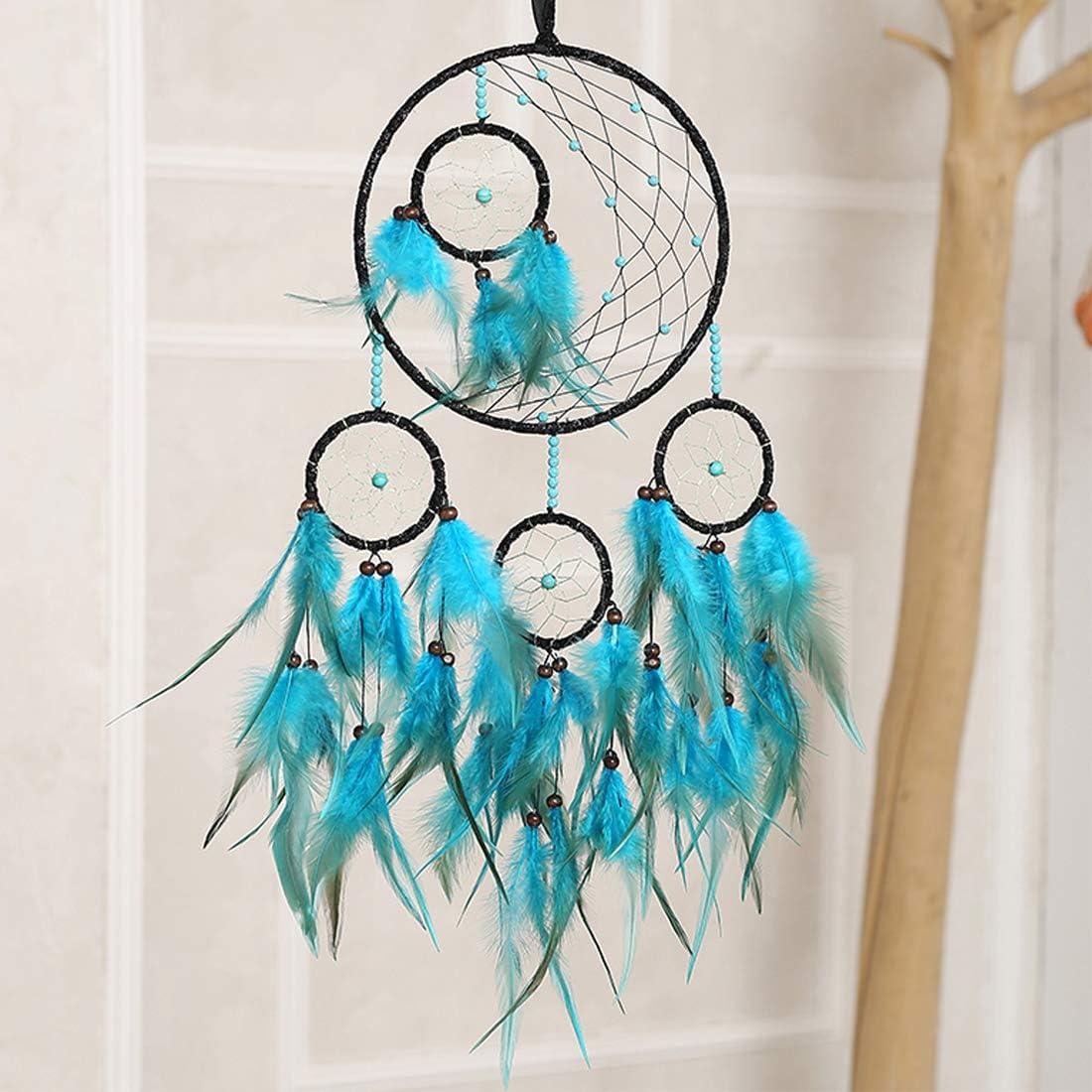 XMSJSIY Attrape-r/êves Vert Grande plume D/écoration murale pour chambre /à coucher D/écoration pour enfant fille et femme vert
