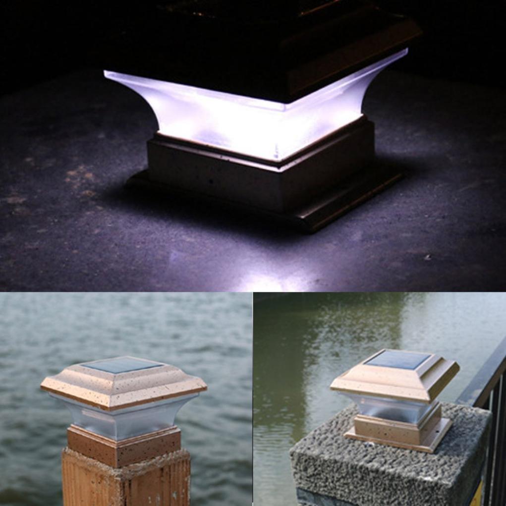 LiPing Outdoor Decorative Lights-Elegant Waterproof Garden Solar Powered LED Post Deck Cap Square Fence Landscape Lamp Light (White)
