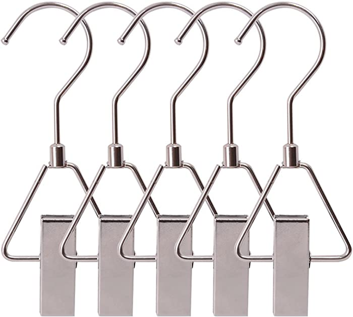 Aligle Energy Chrome Steel Heavy Duty Hanger Clips Hooks Portable Laundry Hook 360° Swivel Joint Triangle Hooks Metal Clip for Laundry Drying Hanging Organizer of Boots Shoes Closet 5 Pcs