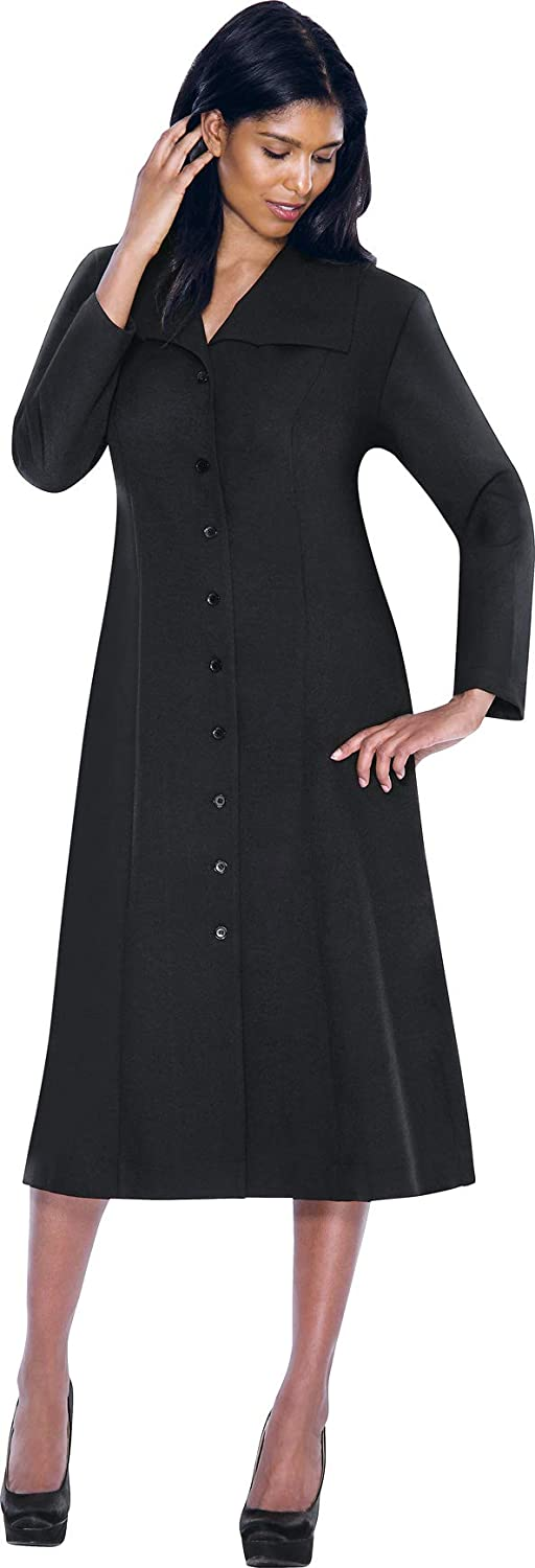 Black Regal Robe Plus Size ButtonDown Chelsea Cut Collar Church Dress with Side Pockets and Pleated Back   G11573W