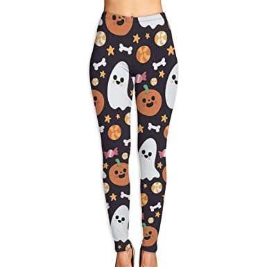 3ca8dec328dfa Women's Yoga Pants Pumpkin Ghost Fitness Power Flex Yoga Pants Leggings  Black
