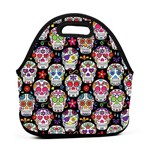 WONDERMAKE Women Men Kids Day of The Dead Sugar Skull Lunch Bags Insulated Zip Thermal Cooler Bag Portable Meal Package Lunch Box Package Picnic Outdoor Travel Fashionable Handbag Pouch