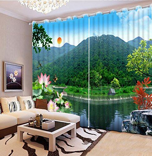 Sproud 3D Printing Curtains Lifelike Room Decorations Blackout Cortians Beautiful Full Light Shading Curtains 260Dropx300Wide(Cm) 2 pieces by Sproud