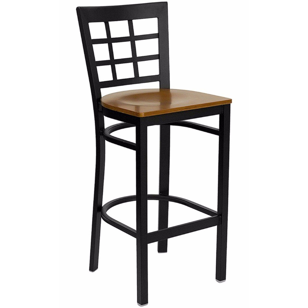 Offex Black Window Back Metal Restaurant Bar Stool - Cherry Wood Seat