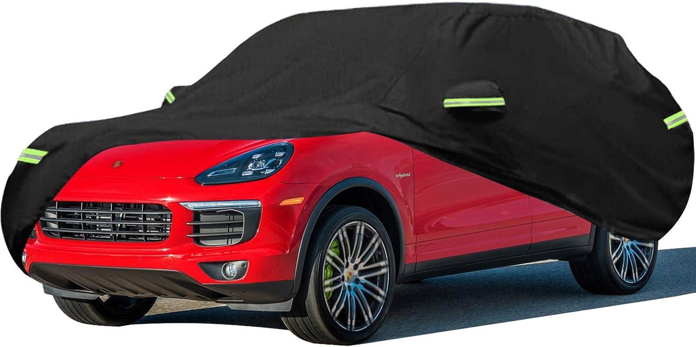 Funda para Coche Compatible con Porsche Cayenne SUV [S/Turbo/Turbo S/GTS], E-Hybrid, Coupe, Hybrid, Espesar Exterior Cubierta del Coche Impermeable Resistente al Polvo Lluvia Rasguño y Nieve Anti-UV