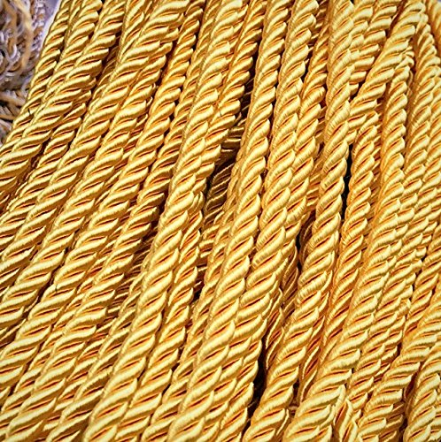 Satin cord 8mm Flanged Rope Trimmings Upholstery Piping Cushion Cording rope Price per 5 Yards Color Gold