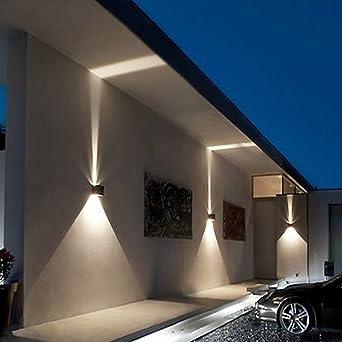 Lot de 2 lampes murales Klighten à éclairage LED encastrées pour un  éclairage intérieur et extérieur blanc chaud, étanchéité de IP54 (Noir, 7 W)