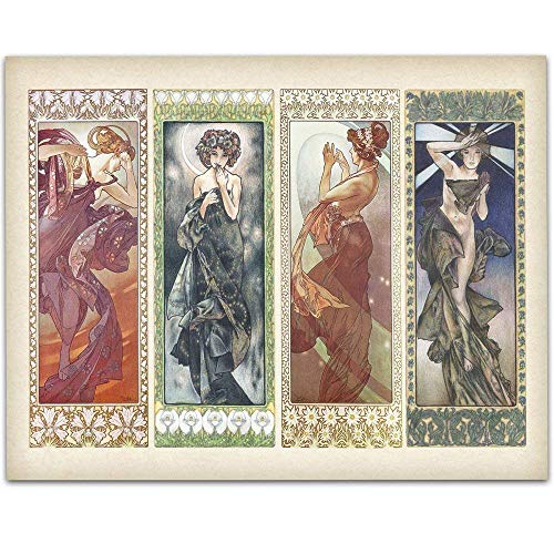 - Art Deco Alphonse Mucha Paintings - 11x14 Unframed Art Print - Great Home Decor and a Great Gift Under $15 for Painters