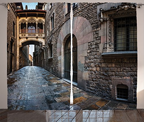 Ambesonne Medieval Decor Collection, Gothic Quarter and Bridge Spainish Old Medieval Streets Historical Heritage the Past Photo, Living Room Bedroom Curtain 2 Panels Set, 108 X 90 Inches, Grey