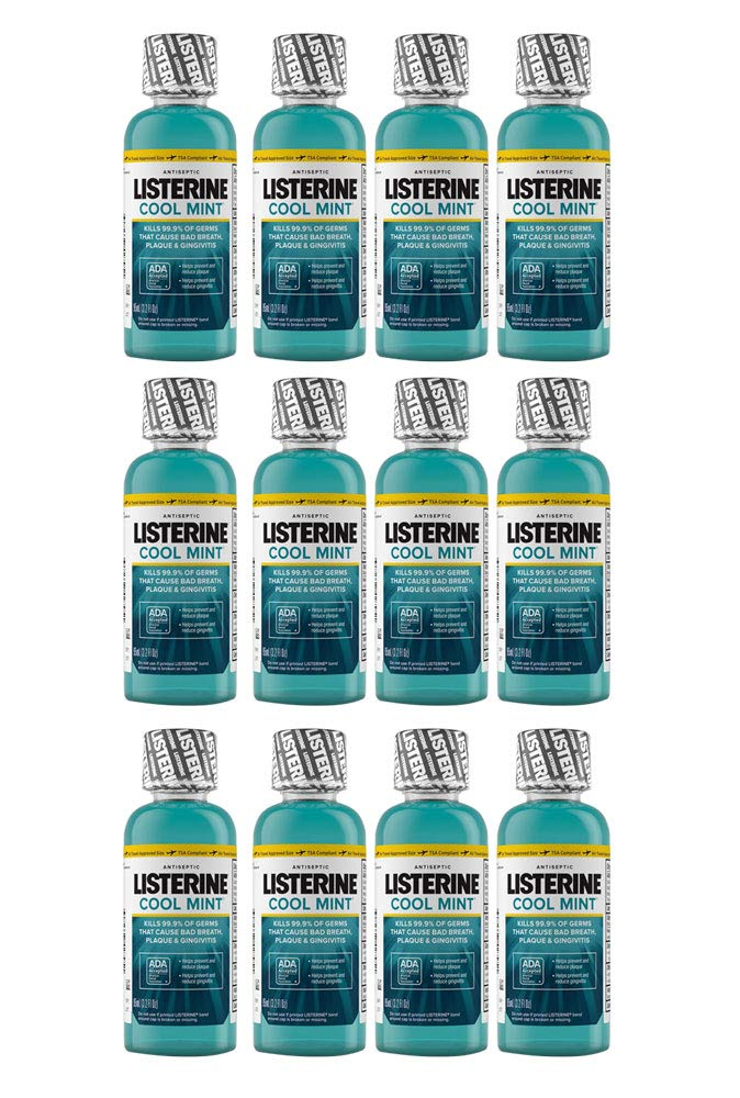 Listerine Mouthwash Cool Mint Antiseptic Bad Breath Travel Size 3.2oz (12-Pack)