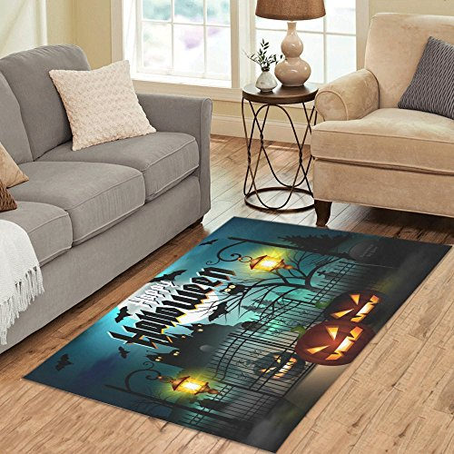 InterestPrint Home Decoration Happy Halloween with Pumpkin Area Rug Carpet 5'x 3'3