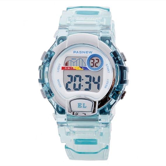 Impermeable de relojes digitales de los niños/Niñas cute dibujos animados reloj/Los estudiantes miran-azul claro 1: Amazon.es: Relojes