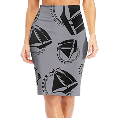 AWX SKIRT I Like Big Boats and I Cannot Lie Women High Waist Skirts Knitted High Pencil Skirt