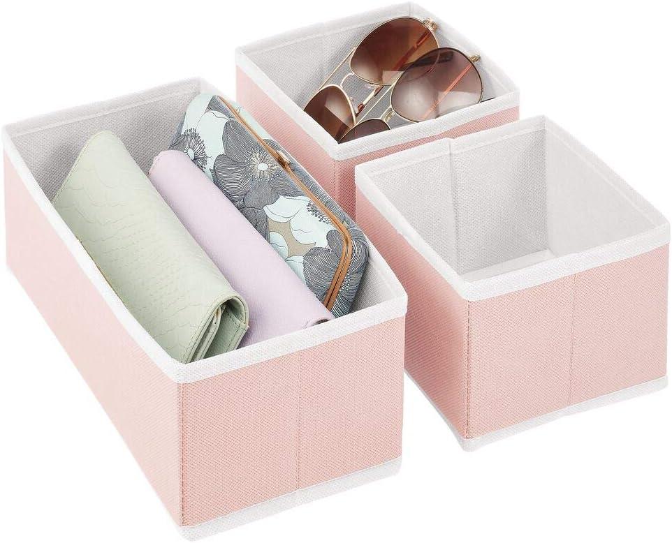Organiseur de tiroir pour Chaussettes Rose et Blanc bacs de Rangement de 2 Tailles en Fibre ...