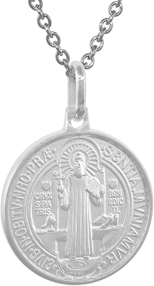 12mm Dainty Sterling Silver St Benedict Medal Necklace for Women & Men 1/2 inch Round Italy 16-24 inch