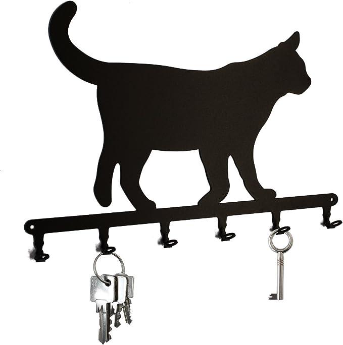 Key Holder Hook European Shorthair Cat Key Hooks For Wall Hanger 6 Hooks Black Metal Amazon Co Uk Kitchen Home