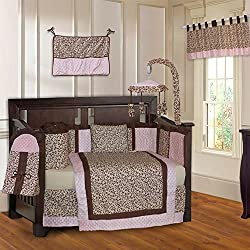 BabyFad Leopard Pink 10 Piece Baby Girl's Crib Bedding Set