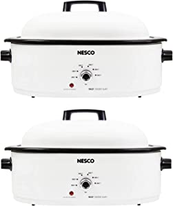 Nesco MWR18-12 Roaster Oven Big Family Multi-Pack Bundle (White, 18-Quart) (2 Items)