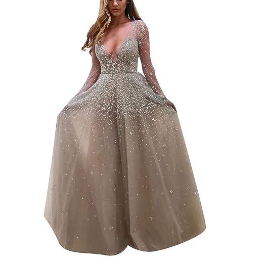d7ea8435f8567 Women's A-line Sequin Wedding Bridesmaid Evening Prom Dress Formal ...
