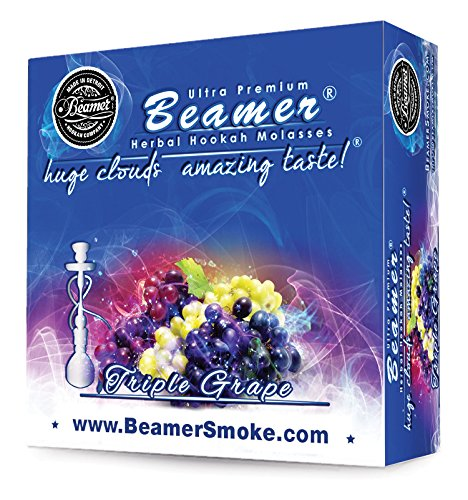 Triple Grape Beamer® Ultra Premium Hookah Molasses 50 Gram Box. Huge Clouds, Amazing Taste!® 100 % Tobacco, Nicotine & Tar Free but more taste than tobacco! Compares to Hookah Tobacco at a fraction of the price! GREAT TASTE, LOTS OF SMOKE & SMELLS GREAT!!! Proudly made in the USA!
