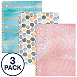 Mead Spiral Notebooks, 1 Subject, College Ruled Paper, 70 Sheets, 10-1/2' x 7-1/2', Shape It Up, Assorted NEW Designs, 3 Pack (38191)